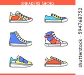 vector color sneakers shoes ... | Shutterstock .eps vector #594768752