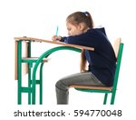 incorrect posture concept....   Shutterstock . vector #594770048