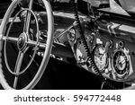 dashboard old car in black and... | Shutterstock . vector #594772448