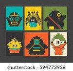 set of six retro postage s...   Shutterstock .eps vector #594773936