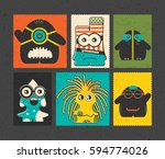 set of six retro postage s... | Shutterstock .eps vector #594774026