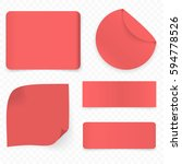 set of red realistic sale paper ... | Shutterstock .eps vector #594778526