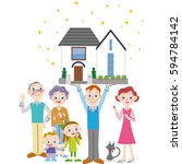 three generation family and... | Shutterstock .eps vector #594784142