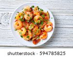 garlic shrimp pinchos tapas... | Shutterstock . vector #594785825