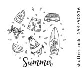 summer holiday theme background ... | Shutterstock .eps vector #594790316