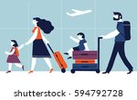 parents with children are going ...   Shutterstock .eps vector #594792728