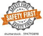safety first. stamp. sticker.... | Shutterstock .eps vector #594793898
