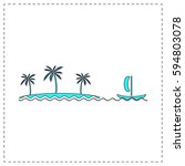 island outline vector icon with ...