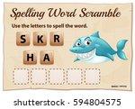 shark scramble word game | Shutterstock .eps vector #594804575