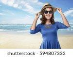 beautiful asian woman with... | Shutterstock . vector #594807332