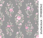 seamless floral pattern with... | Shutterstock .eps vector #594808562