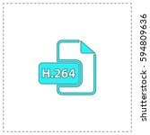 h.264 outline vector icon with...