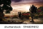 autumn scenery with castle ... | Shutterstock . vector #594809852