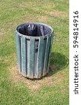 metal litter bin with green...   Shutterstock . vector #594814916