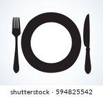 old clean diner steel tool ware ... | Shutterstock .eps vector #594825542
