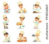 small kids in chief double... | Shutterstock .eps vector #594826865
