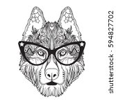 vector face of dog with glasses ... | Shutterstock .eps vector #594827702