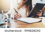 closeup of female hand making... | Shutterstock . vector #594828242