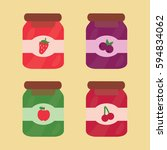 four various cans fruits... | Shutterstock .eps vector #594834062