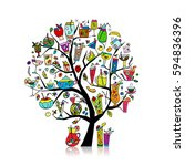 drinks collection  art tree for ... | Shutterstock .eps vector #594836396