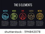 5 elements of nature circle... | Shutterstock .eps vector #594842078