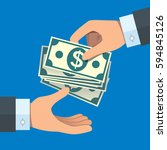 hand giving money to other hand | Shutterstock .eps vector #594845126