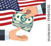 hand giving money to other hand ... | Shutterstock .eps vector #594845132