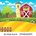 farmland theme background 1  ... | Shutterstock .eps vector #594846005