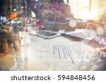 business hand working with new... | Shutterstock . vector #594848456
