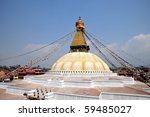 Bouddhanath or Baudhanath or the Khasa Caitya, is one of the holiest Buddhist sites in Kathmandu in Nepal. It is a UNESCO World Heritage Site.  - stock photo