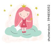 little cute princess with a... | Shutterstock .eps vector #594853052