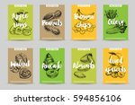 vector hand drawn healthy snack ... | Shutterstock .eps vector #594856106