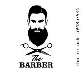 the barber. handsome man with... | Shutterstock .eps vector #594857945