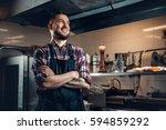 portrait of stylish bearded... | Shutterstock . vector #594859292