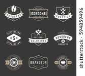 vintage logos design templates... | Shutterstock .eps vector #594859496