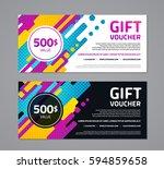 gift voucher template with... | Shutterstock .eps vector #594859658