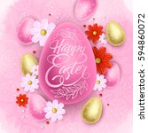 easter spring background with... | Shutterstock .eps vector #594860072