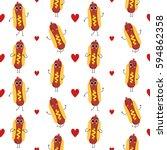 hot dog  vector seamless... | Shutterstock .eps vector #594862358