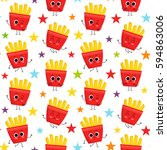 french fries  vector seamless... | Shutterstock .eps vector #594863006