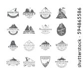 Vector set of premium labels on the themes of wildlife, nature, hunting, travel, wild nature, climbing, camping, life in the mountains, survival. Retro, vintage, casual design. Mountains collection.   Shutterstock vector #594865586