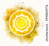manipura chakra symbol | Shutterstock . vector #594865976