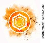 svadhisthana chakra symbol  | Shutterstock . vector #594865982