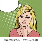 blonde woman thinking about... | Shutterstock .eps vector #594867158