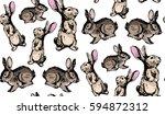 seamless hand drawn pattern... | Shutterstock .eps vector #594872312