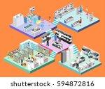 isometric interior shopping... | Shutterstock .eps vector #594872816