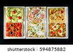 various types of square pizzas... | Shutterstock . vector #594875882
