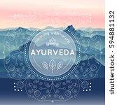 vector ayurveda illustration...   Shutterstock .eps vector #594881132