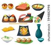 sushi japanese cuisine... | Shutterstock .eps vector #594882998