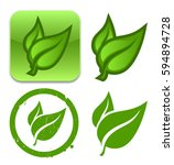 vector leafs icon set. for logo ... | Shutterstock .eps vector #594894728