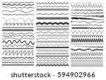 set of wavy curved and zig zag... | Shutterstock .eps vector #594902966